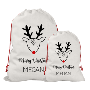 Personalised Linen Reindeer Santa/Gift Sacks (2 Sizes Available) Rachel J Designs