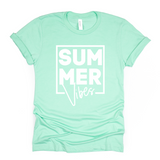 Mint and White Summer Vibes Print T Shirt Rachel J Designs