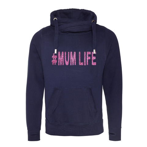 Mum Life Cowl Neck Cross Neck Hoodie
