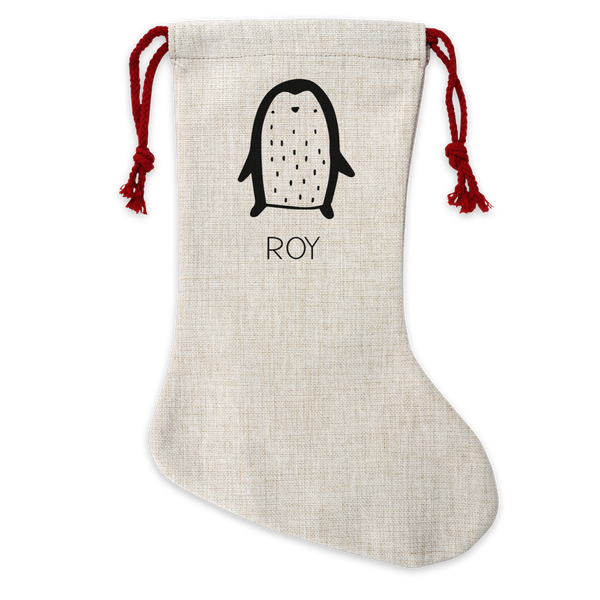 Personalised Penguin Linen Stocking