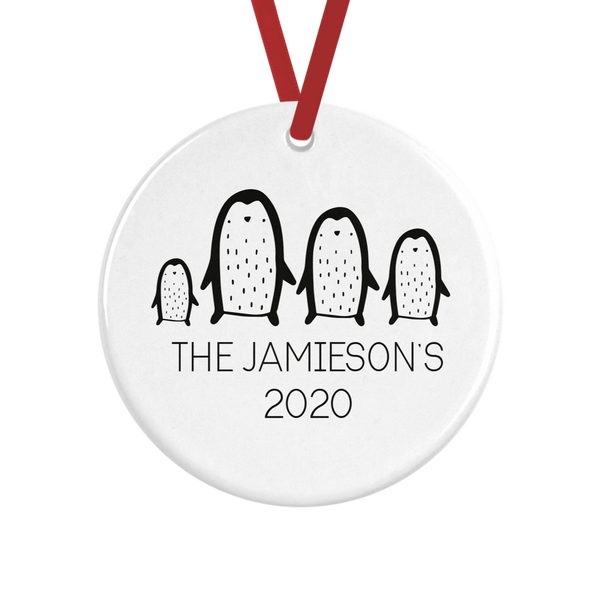 Personalised Family Penguin Decoration