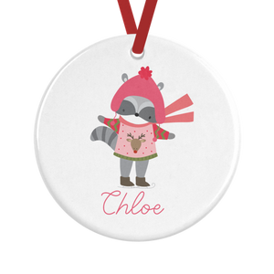 Cute Racoon Personalised Christmas Decoration