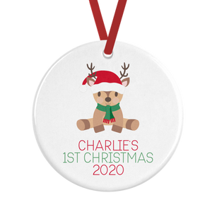 Personalised Baby's First Christmas Reindeer Decoration