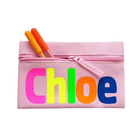 Neon Personalised Childs Pencil Case