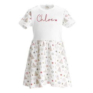 Personalised Cotton Girls/Toddler Christmas Dress