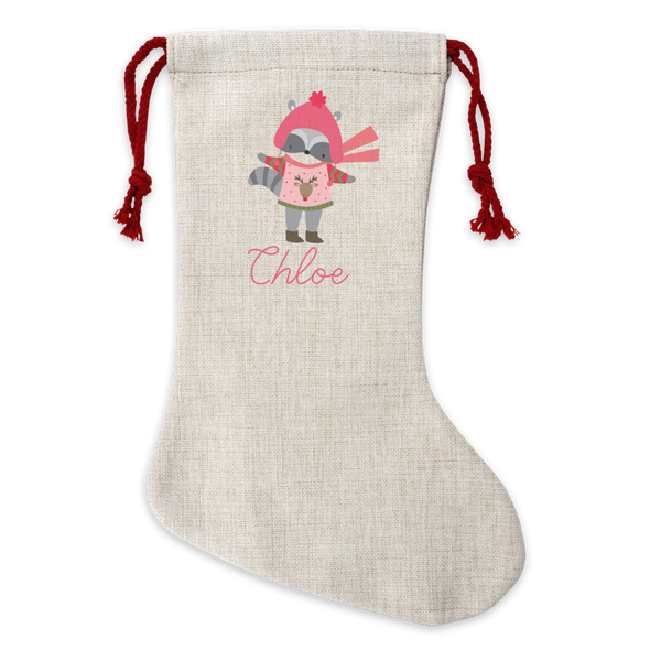 Personalised Racoon Linen Stocking