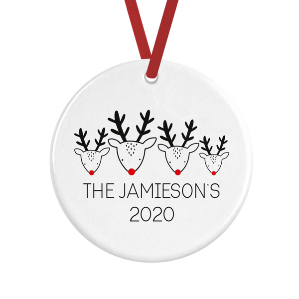 Personalised Family Reindeer Christmas Decoration