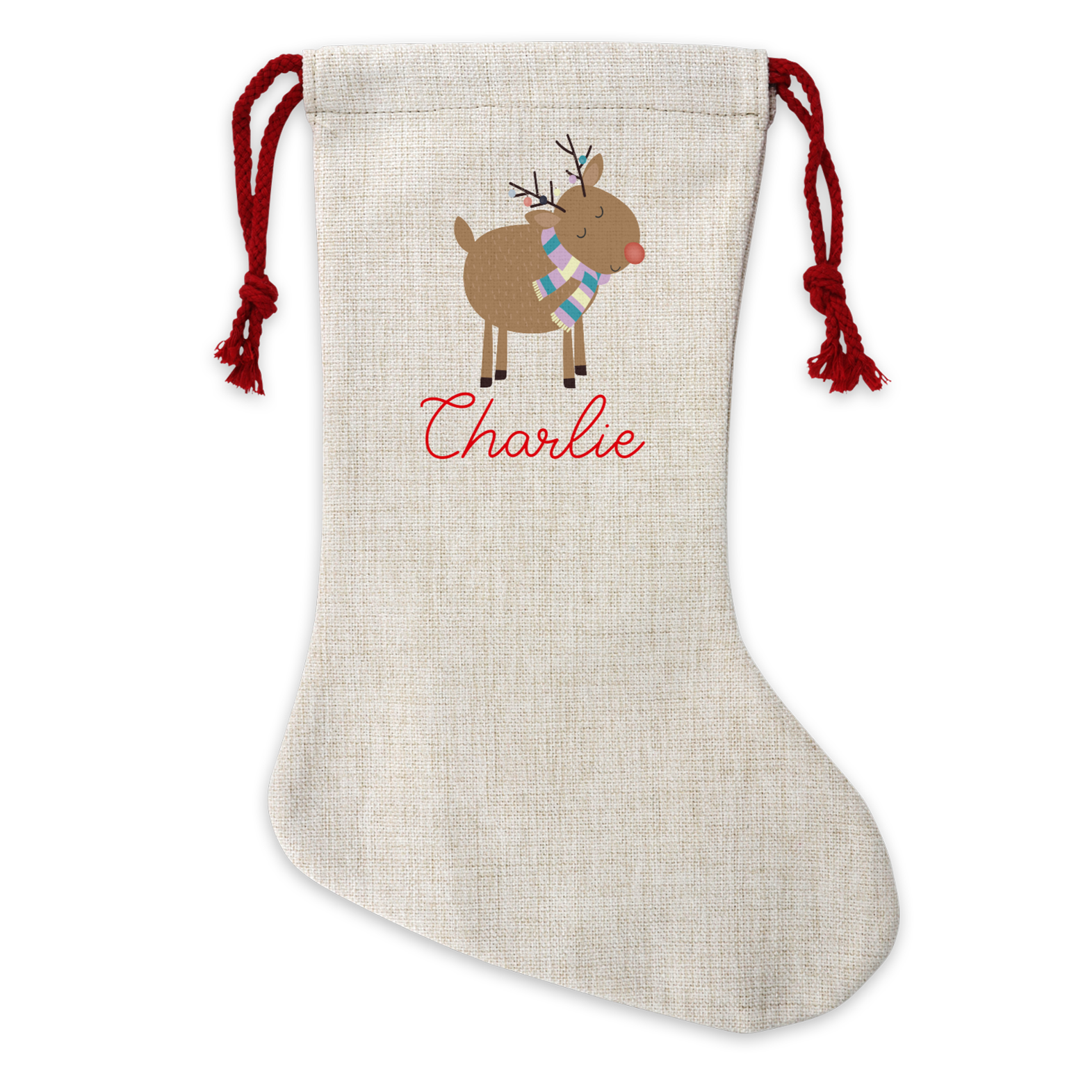 Personalised Cute Reindeer Linen Stocking