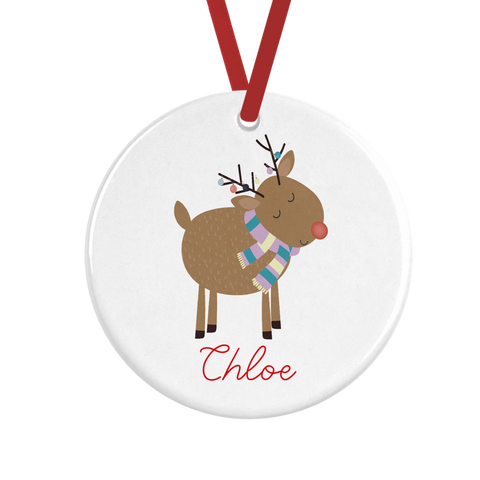 Cute Reindeer Personalised Christmas Decoration Rachel J Designs