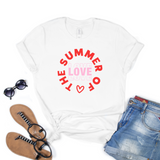 White Summer of Love Print T Shirt Rachel J Designs