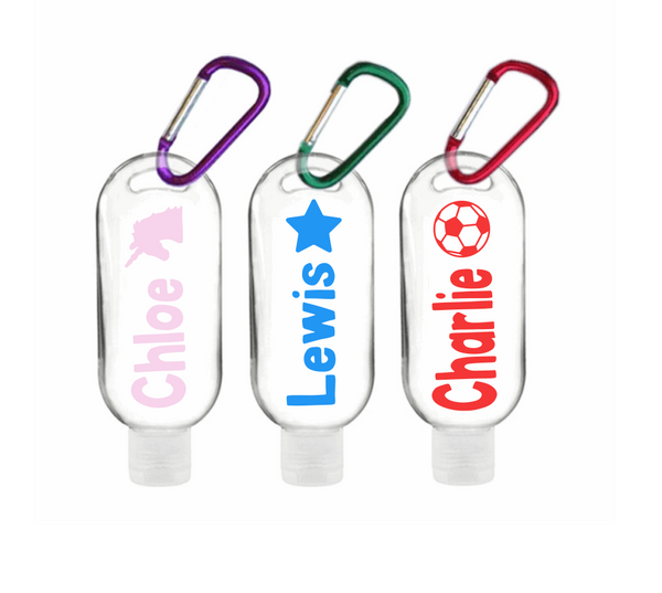 Refillable Personalised 50ml Hand Sanitiser Bottles with Clips