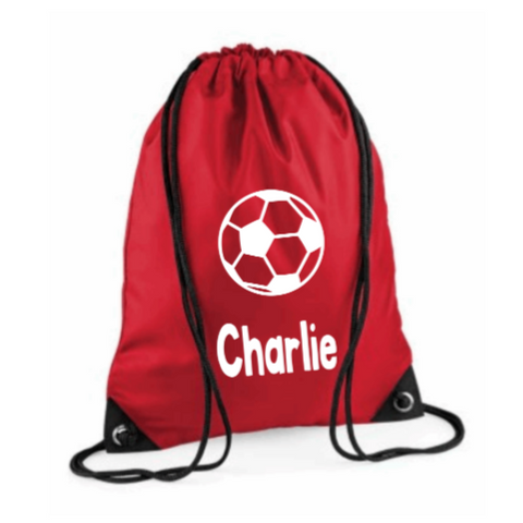 Personalised Draw String Gym Bag Rachel J Designs Red Football