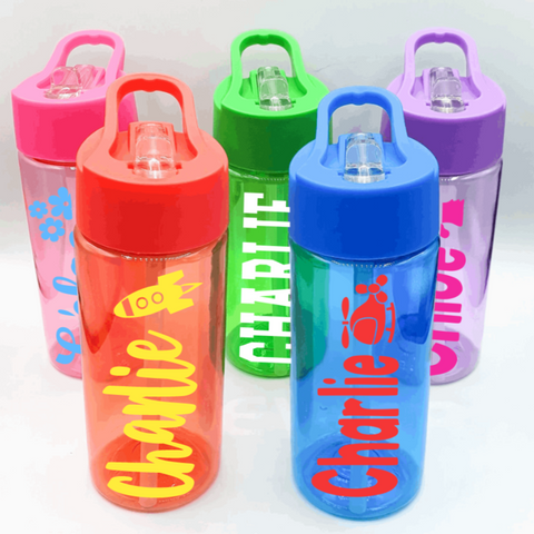 Personalised Kids Water Bottle Pink Blue Green Purple Red Rachel J Designs