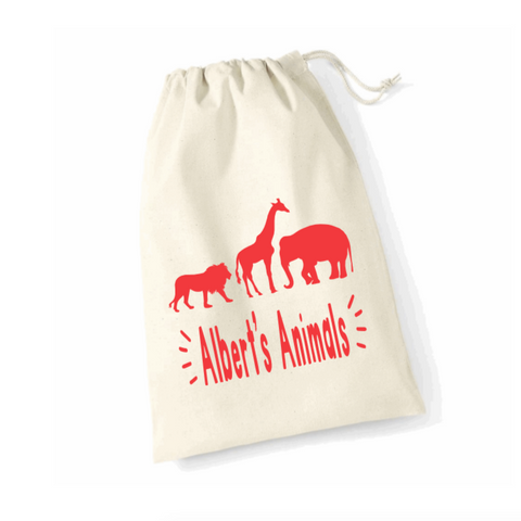 Personalised Safari Animal Toy Storage Bags Rachel J Designs