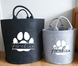 Personalised Felt Pet Paw Storage Baskets Rachel J Designs