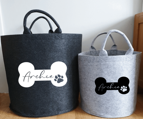 Personalised Felt Pet Storage Baskets Rachel J Designs