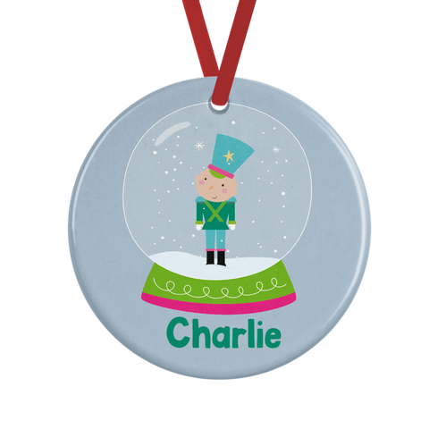 Snowglobe Soldier Personalised Christmas Decoration Rachel J Designs
