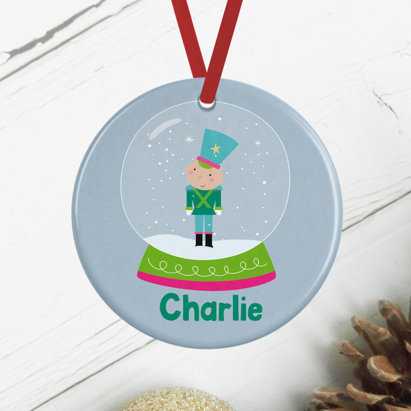 Snowglobe Soldier Personalised Christmas Decoration