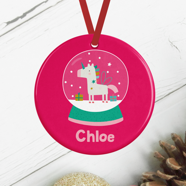 Snowglobe Unicorn Personalised Christmas Decoration Rachel J Designs