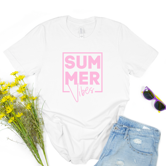 White and Pink Summer Vibes Print T Shirt