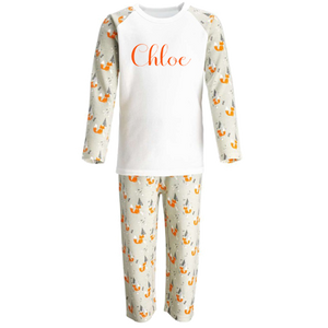Personalised Woodland Pyjama Set / Christmas Pyjamas Script Font
