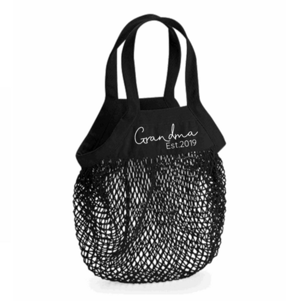Personalised Organic Cotton Grandma Grocery Mesh Bag Rachel J Designs