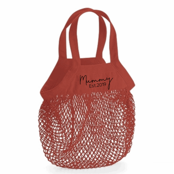 Personalised Organic Cotton Mummy Grocery Mesh Bag Rachel J Designs