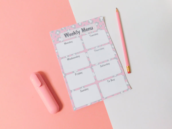 A5 Magnetic Animal Print Weekly Menu Planner, Menu Planner, Rachel J Designs