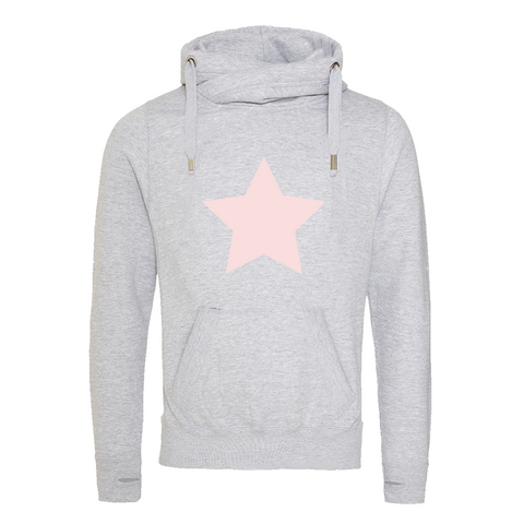 Star Print Grey Cowl Neck Hoodie Rachel J Designs