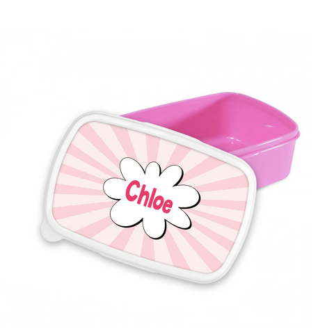 Personalised Superhero Themed Pink Snack/Sandwich Box