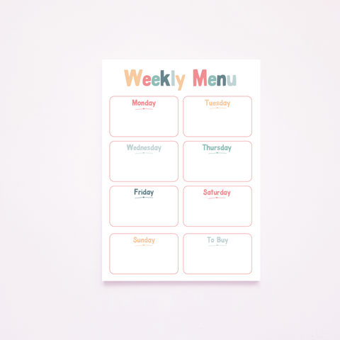 A5 Magnetic Rainbow Weekly Menu Planner Rachel J Designs