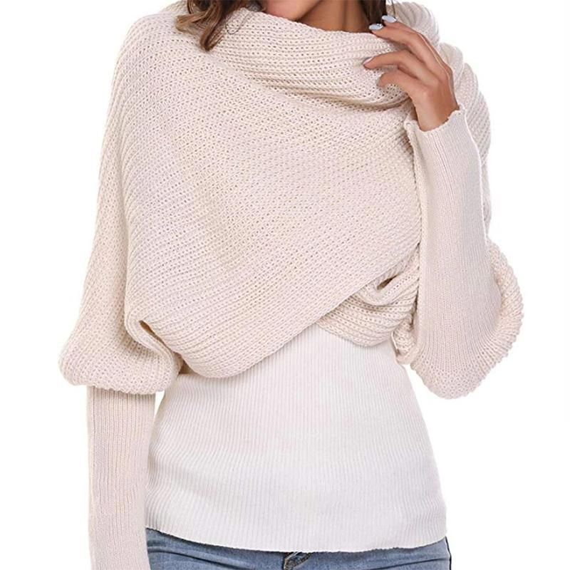 Nowsparkle™ Crochet Knitted Scarf Shawl with Sleeves