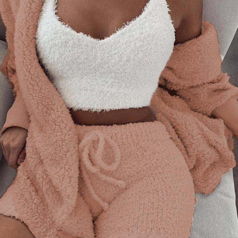 Nowsparkle™ Fluffy Hooded Open Front Teddy Coat & Short Sets