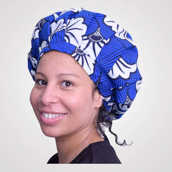 Bonnet satin/wax réglable FLORA BLUE - CURLY NIGHTS