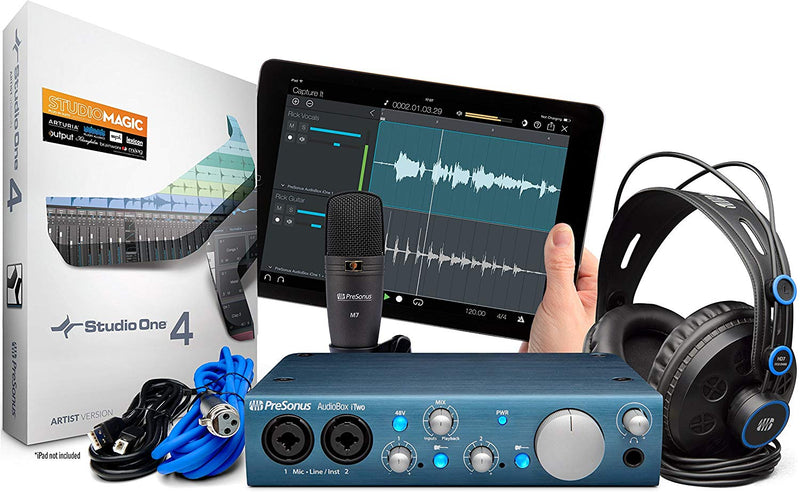Presonus AudioBox iTwo USB 2.0 Recording Bundle with Interface, Headphones, Microphone and Studio One software, PC/Mac/iOS-2