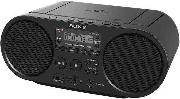 Sony - Sony Zs-PS50 Black Portable Cd Boombox Player Digital Tuner Am/FM Radio USB Playback and Audio Input Mega Bass Reflex Stereo Sound System -  - Tashria
