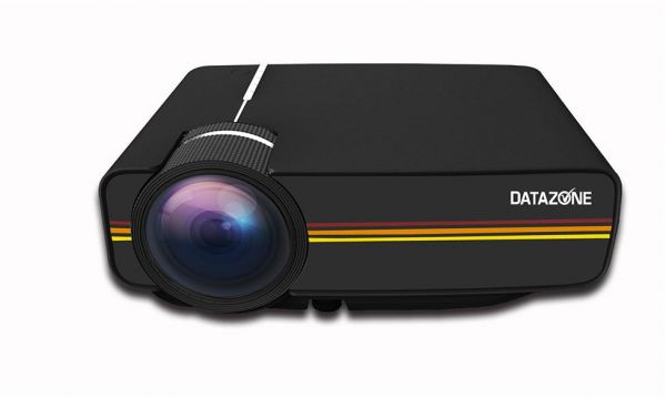 DATAZONE Mini Portable DZ-1200 LED Projector Full HD Support 1080P USB HDMI AV VGA SD Home Theater PC, Black, DZ-1200