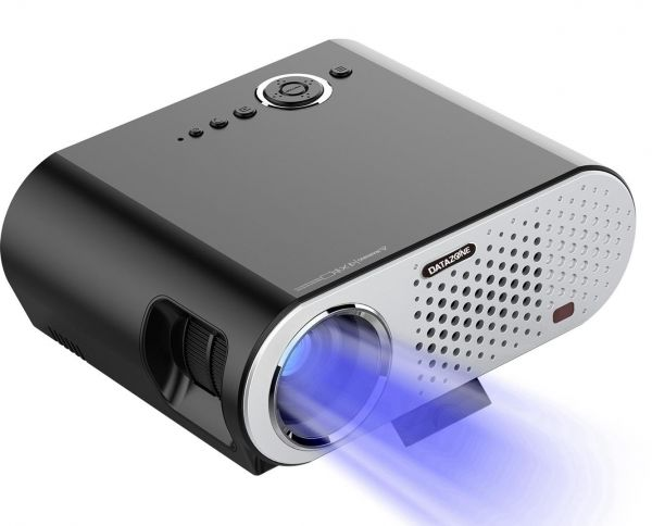 DATAZONE HD Mini Projector, LED Portable Projectors for Home Theater Video, Support 1080P with Audio AV HDMI SD Card Slot USB VGA, Built in 3W Speaker (BLACK)