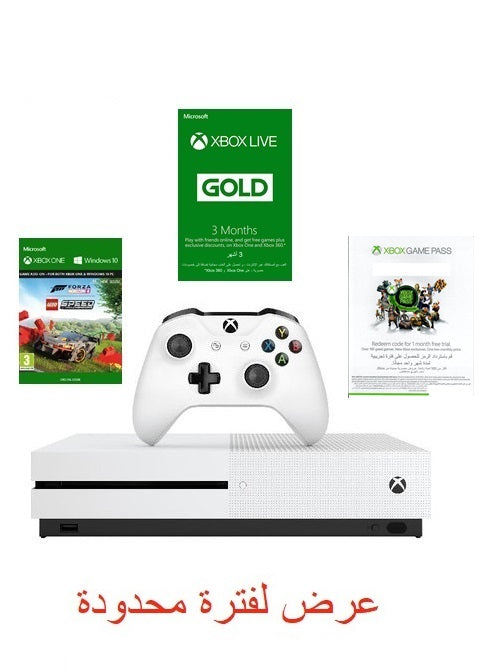 Microsoft Xbox One S 1 TB, White + 3 Months Live Gold + Forza Horizon 4 voucher Lego Speed Champions + Game Pass