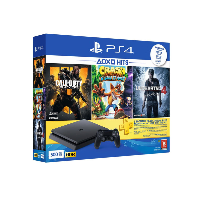 PlayStation 4 - 500 GB - 1 Controller+ 3 Games(Call of Duty Black OPS 4 + Crash + Uncharted4 )+ PlayStation Plus 3 Months