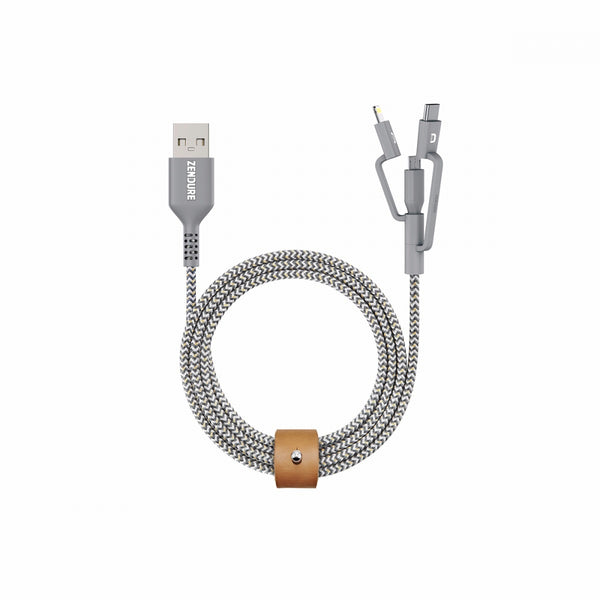 Tashria - Zendure 1mtr SuperCord 3 in1 Cable [Micro+Type c+8Pin] Grey -  - Tashria
