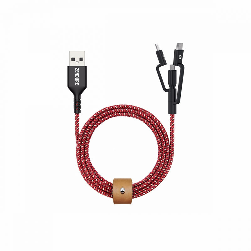 Tashria - Zendure 1mtr SuperCord 3 in1 Cable [Micro+Type c+8Pin] Red -  - Tashria