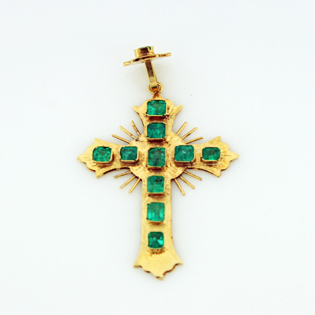 DECO 18K YG EMERALD CROSS