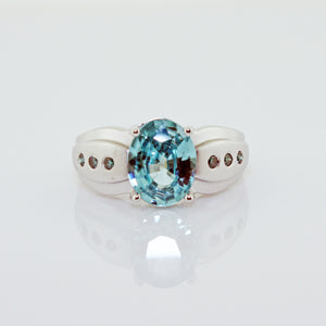 BLUE TOPAZ & BLUE DIAMOND WG RING