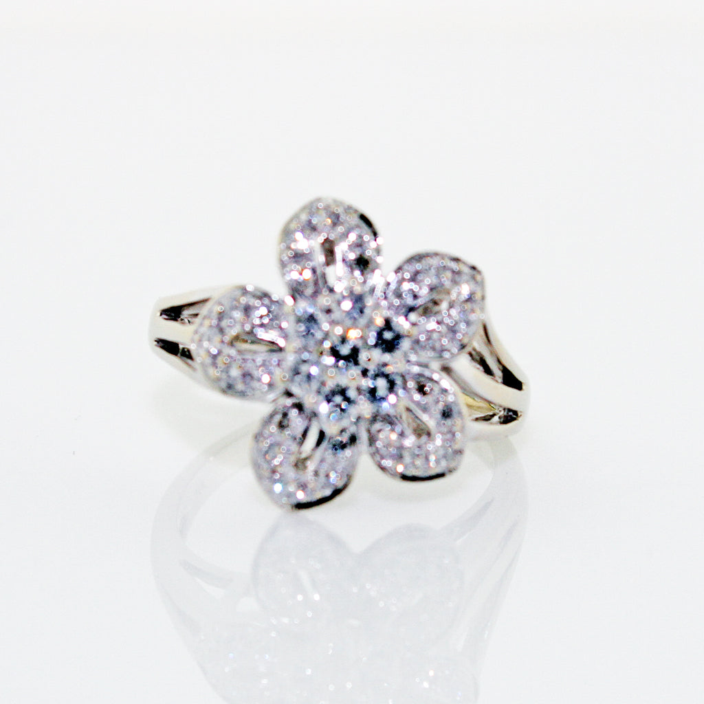 DIAMOND FLOWER 14K WG RING