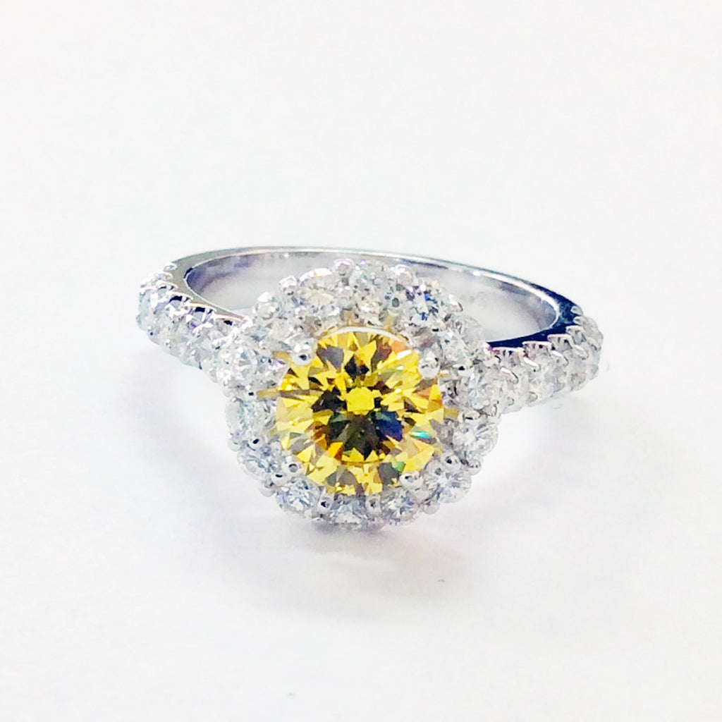 ROUND YELLOW DIAMOND HALO ENGAGEMENT RING 2.0CTW