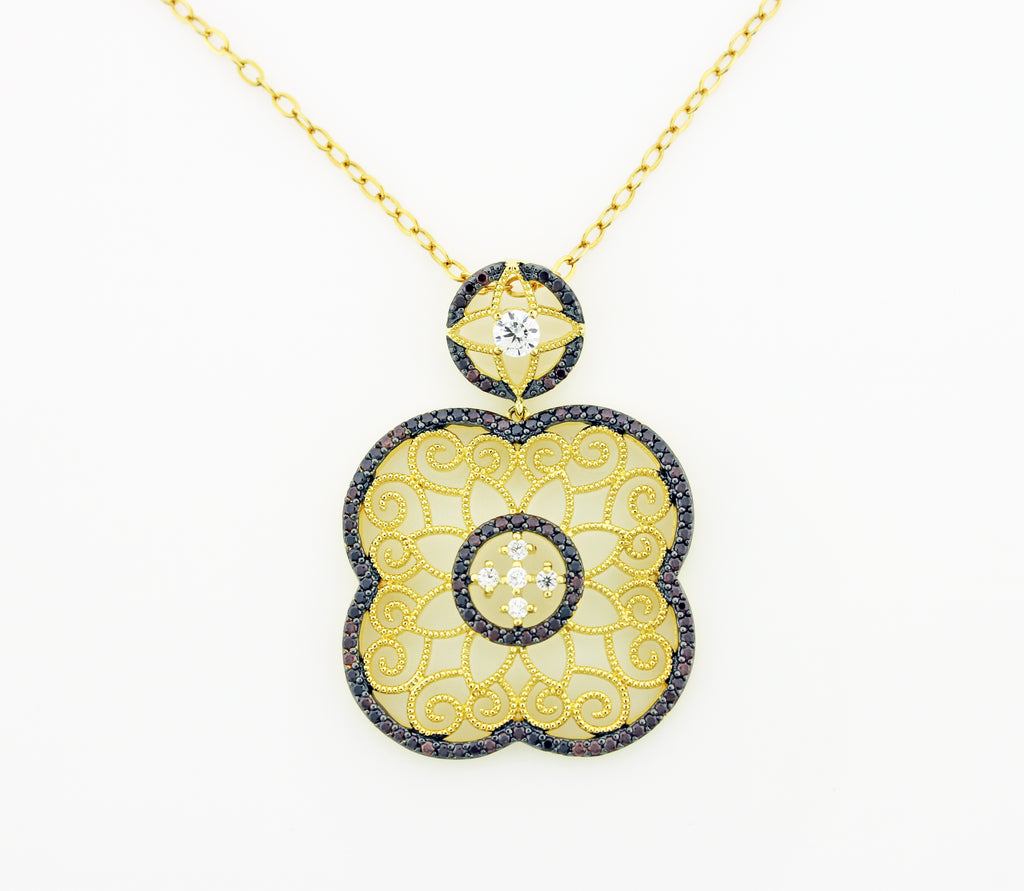 DECO FLOWER PENDANT CHAIN (MATCHING EARRINGS)
