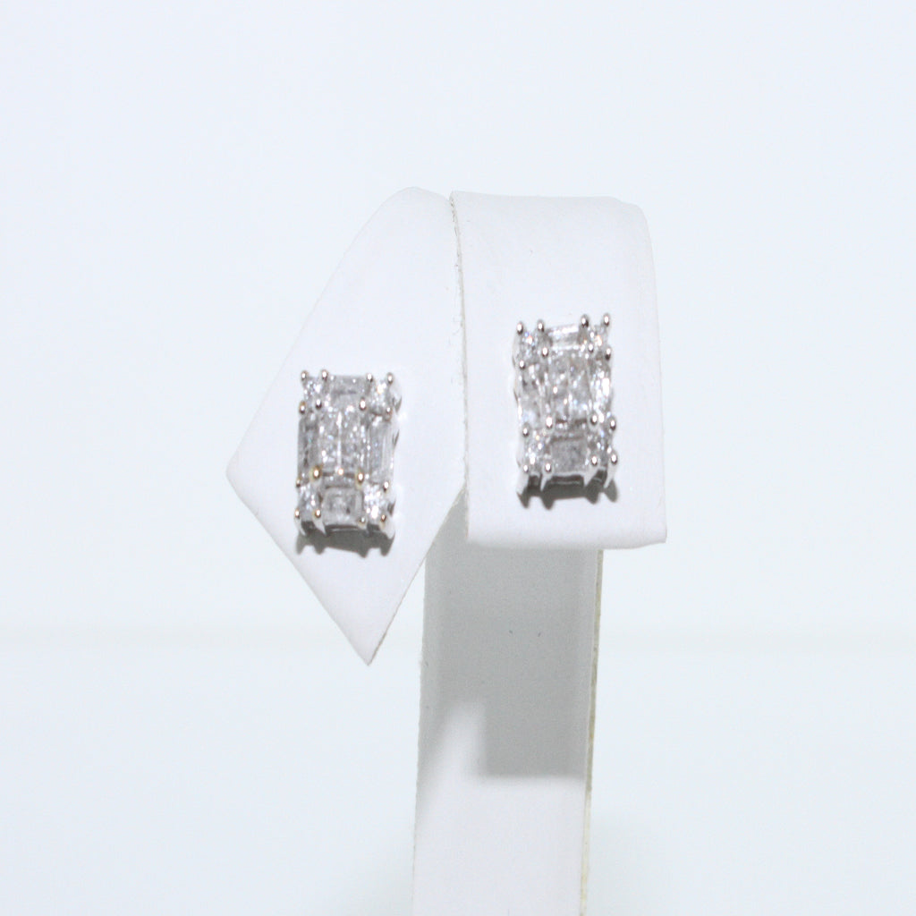 PRINCESS BAGUETTE DIAMOND STUD EARRINGS