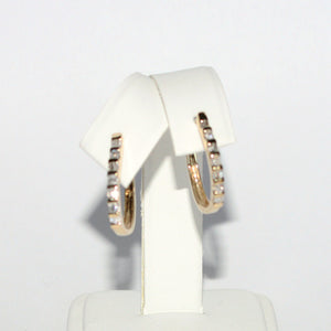 BAGUETTE ROUND DIAMOND 10K YG CUFF EARRINGS
