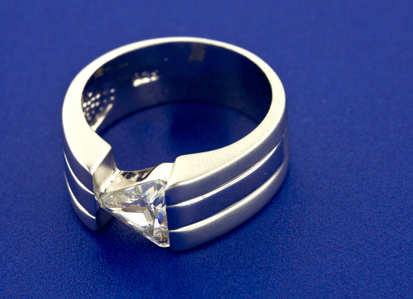TRILLION CUT CRYSTAL RING